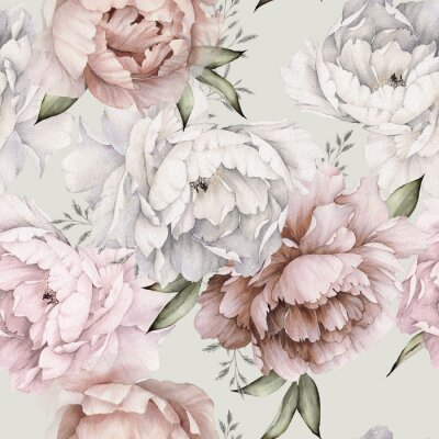 Wall mural Seamless floral pattern with peonies on light background, watercolor. Template design for textiles, interior, clothes, wallpaper. Botanical art