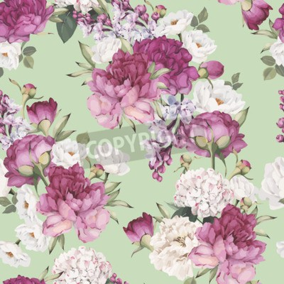 Wall mural Seamless floral pattern with peonies. Vector