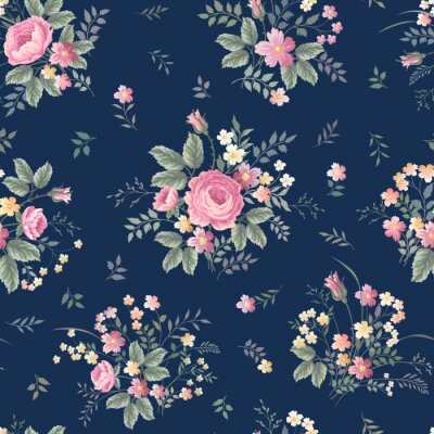 Wall mural seamless floral pattern with rose bouquet ondark blue background