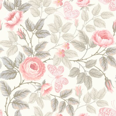Wall mural seamless floral pattern with roses and butterflies