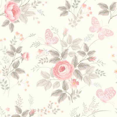 Wall mural seamless floral pattern with roses in pastel colors