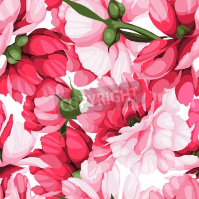Wall mural Seamless floral pattern with roses, watercolor. Vector illustration.