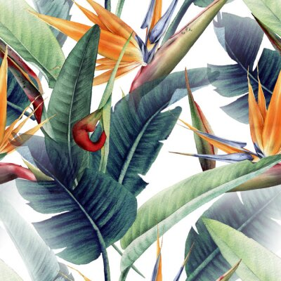 Wall mural Seamless floral pattern with tropical leaves and strelitzia on light background. Template design for textiles, interior, clothes, wallpaper. Watercolor illustration