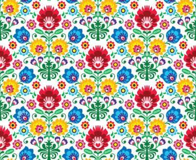 Wall mural Seamless floral polish pattern - ethnic background