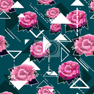 Wall mural Seamless florals pattern background with pink roses and white ge