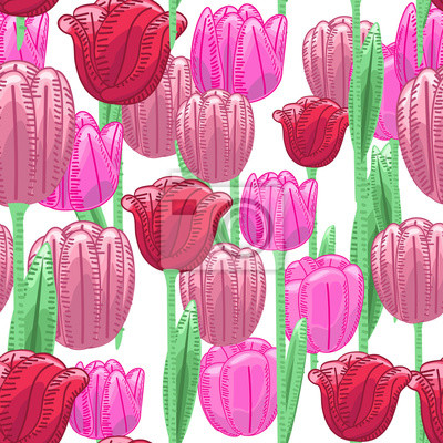 Wall mural Seamless florals pattern background with red and pink cute tulip