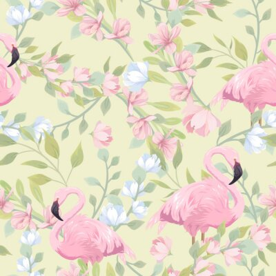 Wall mural Seamless gentle pattern with pink flowers and flamingo