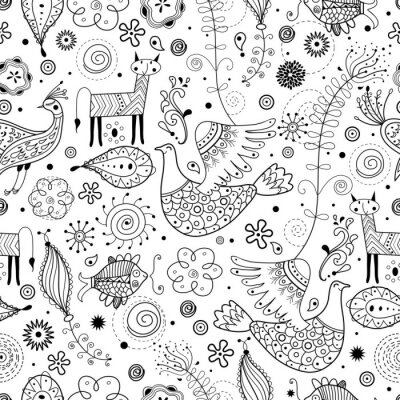 Wall mural Seamless graphic pattern of fabulous animals