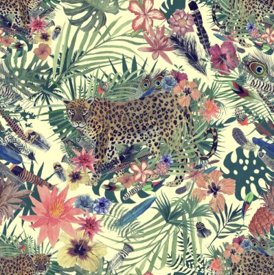 Wall mural Seamless hand drawn watercolor pattern with leopard, flowers, feathers, flowers.