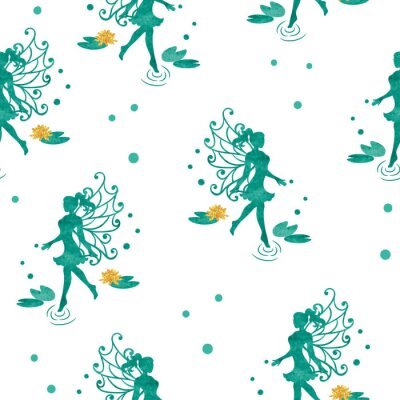 Wall mural Seamless magical pattern with watercolor water fairy.