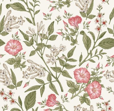 Wall mural Seamless pattern. Beautiful fabric blooming realistic isolated flowers. Vintage background. Set Jasmine Petunia Croton wildflowers. Wallpaper baroque. Drawing engraving. Vector victorian illustration