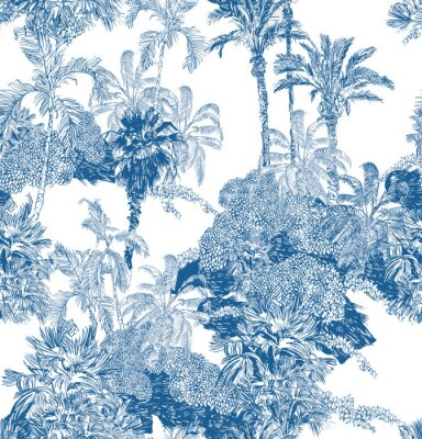 Wall mural Seamless Pattern Blue and White Cobalt Tropical Jungles with Palms and Mountains, Blue Rainforest Toile Print, Tropical Engraving Illustration Wallpaper Mural, Classic Hand Drawn Landscape Design