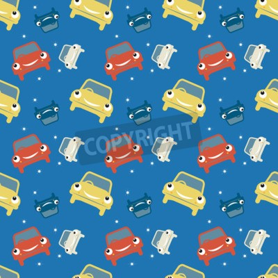 Wall mural Seamless pattern, car theme, vector illustration