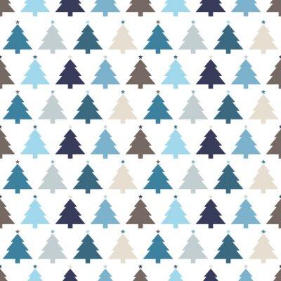 Wall mural Seamless Pattern Christmas Trees Stars Blue
