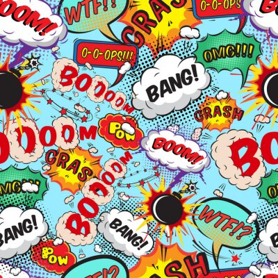 Wall mural Seamless pattern comic speech bubbles