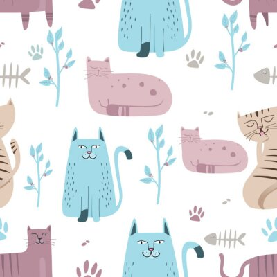 Wall mural Seamless pattern Cute cat with hand drawn cartoon