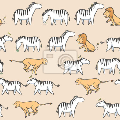 Wall mural Seamless pattern Cute zebra, tiger and lion cartoon with hand drawn style