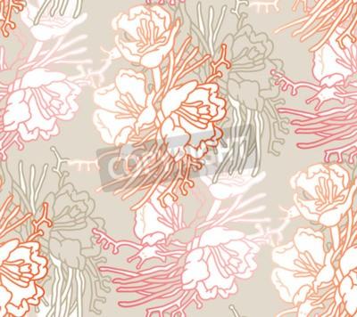 Wall mural Seamless pattern of flowers. Floral illustration. Botanic atrwork.