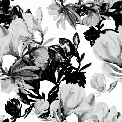 Wall mural Seamless pattern of flowers magnolia