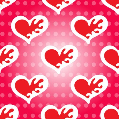 seamless pattern Valentine's Day red heart background