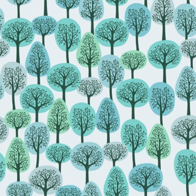 Wall mural seamless pattern with a winter forest