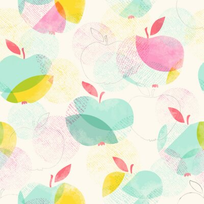 Wall mural seamless pattern with apples