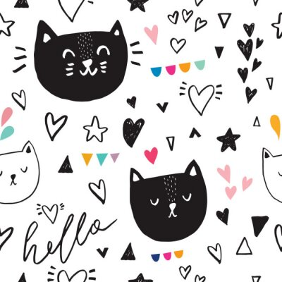 Wall mural Seamless pattern with black cute kitty
