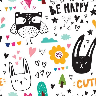 Wall mural Seamless pattern with black owl and rabbits