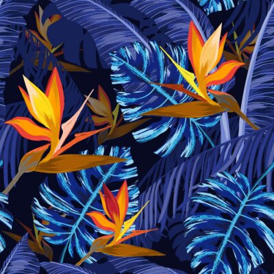 Wall mural Seamless pattern with blue tropical flowers