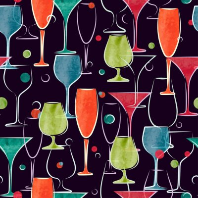 Wall mural Seamless pattern with colorful watercolor cocktail glasses. Vector background.