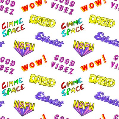 Wall mural Seamless pattern with comic book colorful phrases, words: