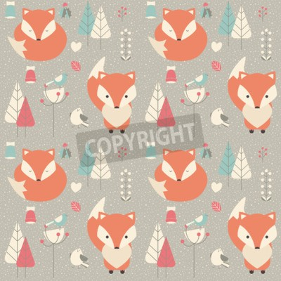 Wall mural Seamless pattern with cute Christmas baby fox surrounded with floral decoration, vector illustration
