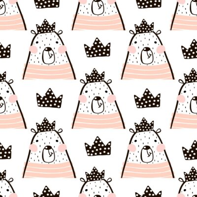 Wall mural Seamless pattern with cute girl bear bears princess . Perfect for fabric,textile.Vector background
