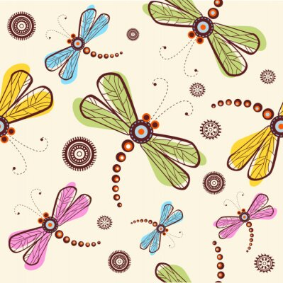 Wall mural Seamless pattern with dragonfly and flower