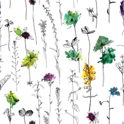 Wall mural Seamless pattern with drawing herbs and flowers