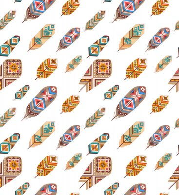 Wall mural Seamless pattern with ethnic feathers