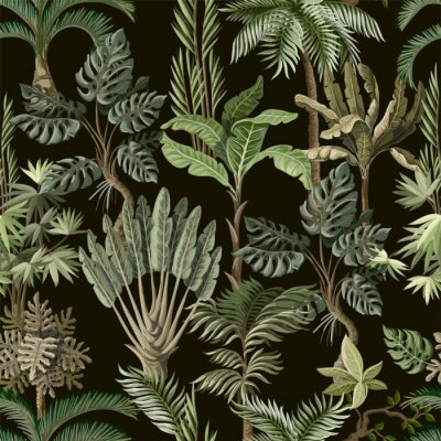 Wall mural Seamless pattern with exotic trees such us palm, monstera and banana. Interior vintage wallpaper.