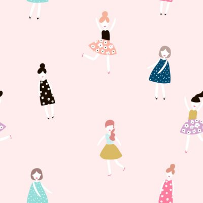 Wall mural Seamless pattern with fashion girls. Modern style flat vector background.