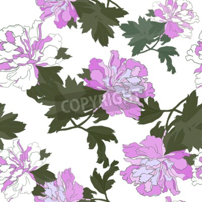 Wall mural Seamless pattern with Flower Peony. Floral Design Vector illustration.