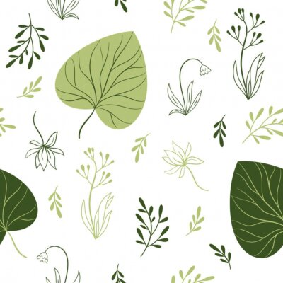 Wall mural seamless pattern with flowers, floral elements, fabric design