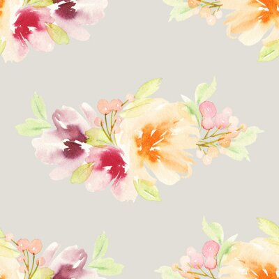 Wall mural Seamless pattern with flowers watercolor. Gentle colors.