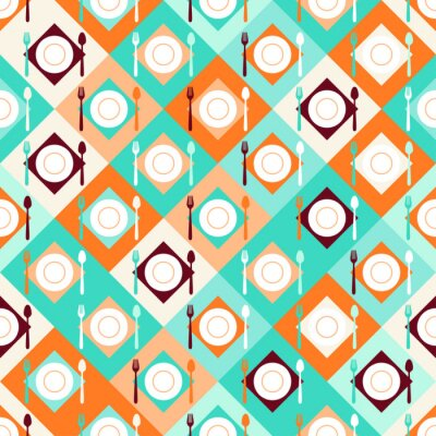 Wall mural Seamless pattern with forks, spoons and plates in retro style.