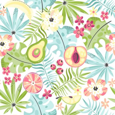 Wall mural Seamless pattern with fruits and flowers