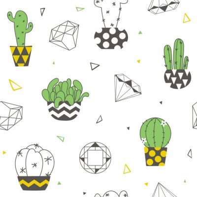 Wall mural Seamless pattern with funny cacti