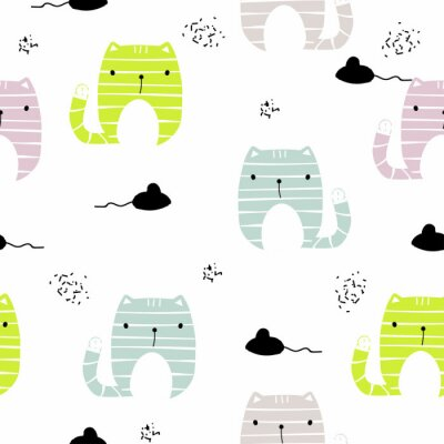 Wall mural Seamless pattern with funny cat and black mouse. Vector hand drawn illustration.