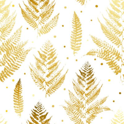 Wall mural Seamless pattern with golden fern leaves