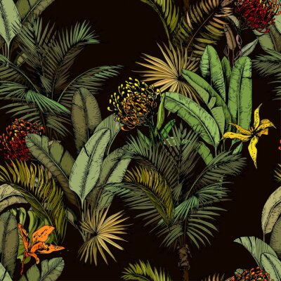 Wall mural Seamless pattern with green tropical leaves and exotic flowers. Hand drawn vector illustration on black background.
