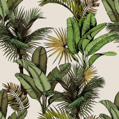 Wall mural Seamless pattern with green tropical palm and banana leaves. Hand drawn vector illustration on beige background.