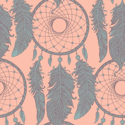 Wall mural Seamless pattern with hand drawn dream catchers