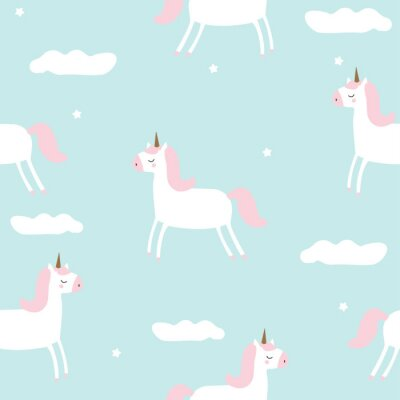 Wall mural Seamless pattern with magical unicorn in the sky. Vector hand drawn illustration.
